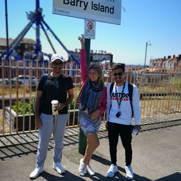 Students at Barry Island